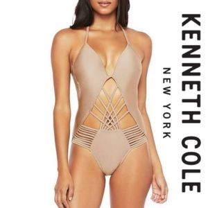 Kenneth cole NWT small one piece strappy nude swim